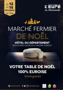 Affiche du marché fermier 2019 avec un fromage. Votre table de Noël 100% Euroise. Entrée gratuite.