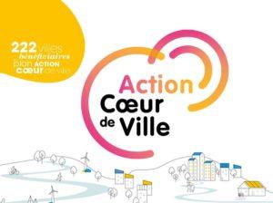 """Logo du programme """"action coeur de ville"""", demi-cercle rose et orange. Dessin d'une ville, d'un village sur une coline."""
