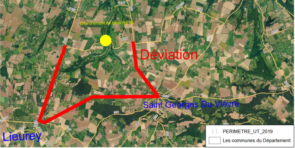 Carte avec le tracé de la déviation de Saint-Etienne l'Allier