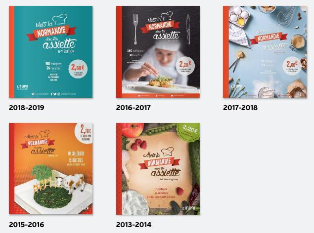 5 couvertures des livres de recettes Mets la Normandie dans ton assiette