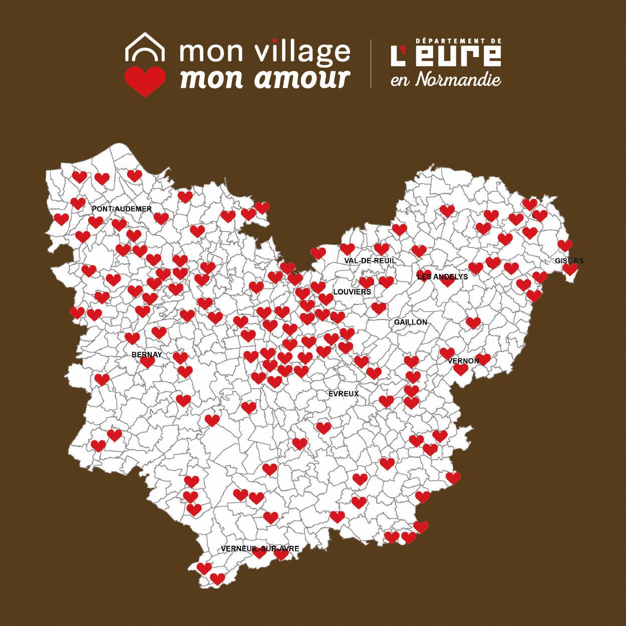 """l'image montre toutes les communes qui ont bénéficié du dispositif """"Mon Village Mon Amour"""""""