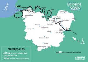 Carte de l'itinéraire de la Seine à vélo