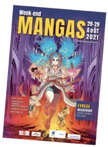 Affiche week-end mangas à la médiathèque d'Evreux
