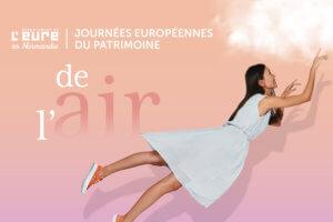 """Affiche des JEP 2021 dans l'eure intitulée """"de l'air"""" fille volant avec un nuage"""""""