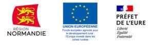 trois logos region normandie, etat et union europenne