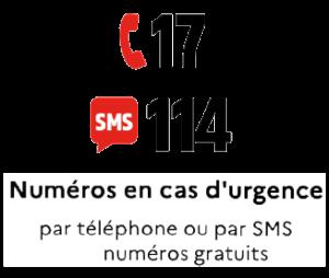 numero en cas d'urgence 17 par téléphone ou 114 par SMS